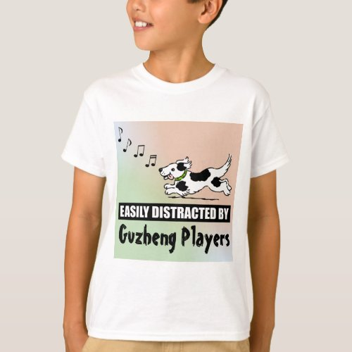 Cartoon Dog Easily Distracted by Guzheng Players Music Notes Basic T-Shirt