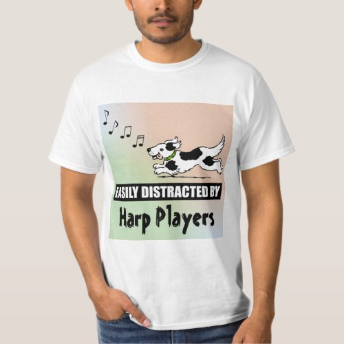 Cartoon Dog Easily Distracted by Harp Players Music Notes Value T-Shirt