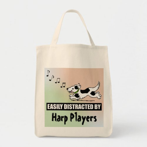 Cartoon Dog Easily Distracted by Harp Players Grocery Tote Bag