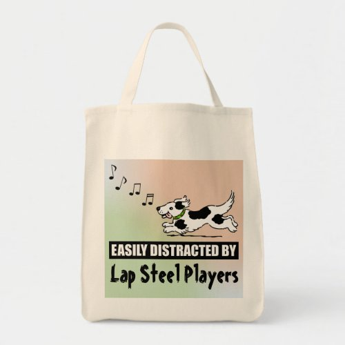 Cartoon Dog Easily Distracted by Lap Steel Players Grocery Tote Bag