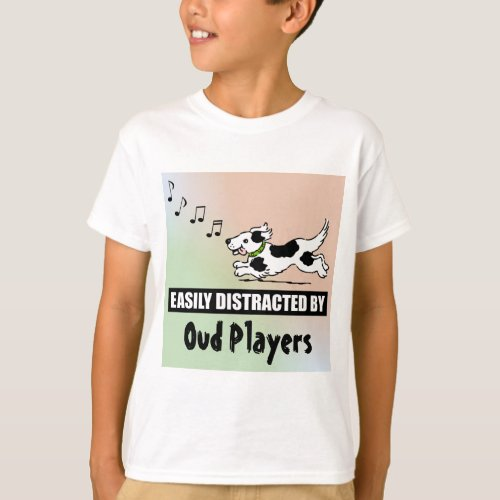 Cartoon Dog Easily Distracted by Oud Players Music Notes Basic T-Shirt