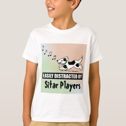 Cartoon Dog Easily Distracted by Sitar Players Music Notes Basic T-Shirt