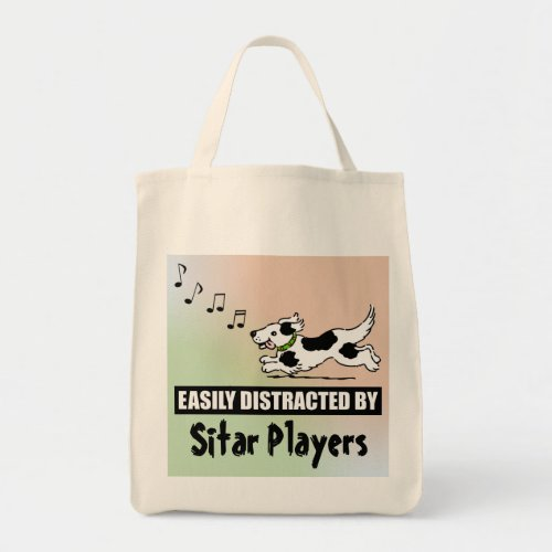 Cartoon Dog Easily Distracted by Sitar Players Grocery Tote Bag