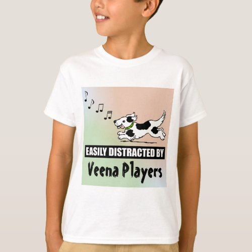 Cartoon Dog Easily Distracted by Veena Players Music Notes Basic T-Shirt