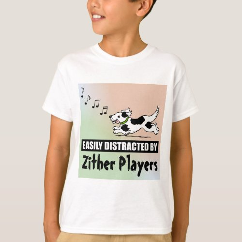 Cartoon Dog Easily Distracted by Zither Players Music Notes Basic T-Shirt