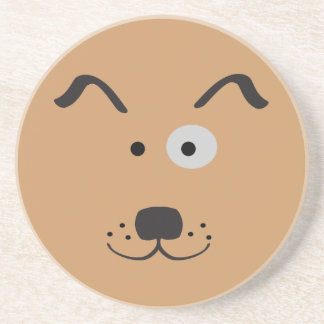 Cartoon Dog Face Illustration Sandstone Coaster