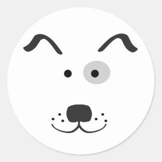 Cartoon Dog Face Illustration Classic Round Sticker