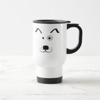 Cartoon Dog Face Illustration Travel Mug