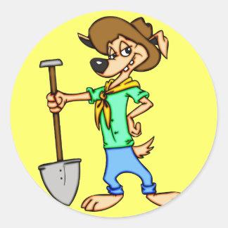 Cartoon Dog Gold Miner Classic Round Sticker