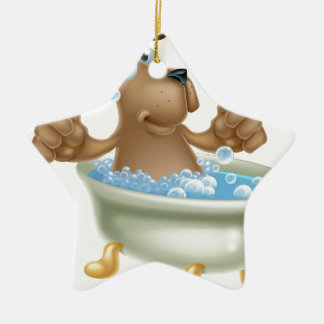Cartoon dog in bubble bath ceramic ornament