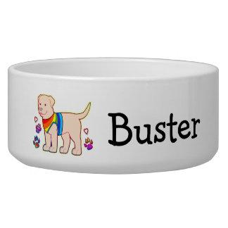 Cartoon Dog in Rainbow Shirt Bowl