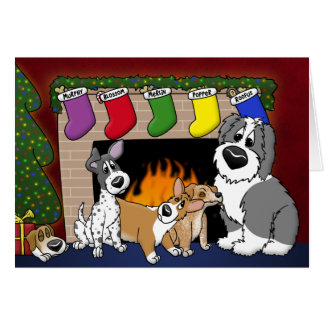 Cartoon Dog Lover Family Christmas Card