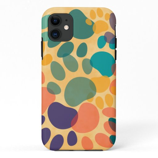Cartoon Dog Paw Print Colorful Abstract Art iPhone 11 Case