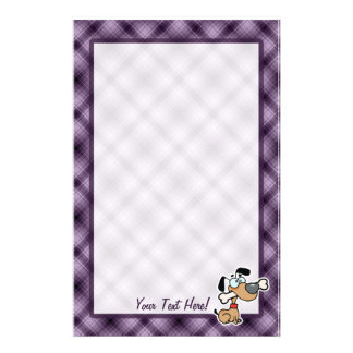 Cartoon Dog; Purple Stationery
