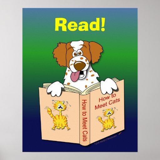 Cartoon Dog Read Funny School Educational Reading Print