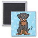 Cartoon Dog Rottweiler Square Magnet