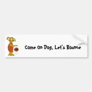 Cartoon Dog Shooting Free Throw Car Bumper Sticker