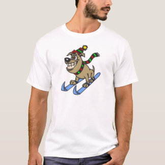 Cartoon Dog Snow Skiing T-Shirt