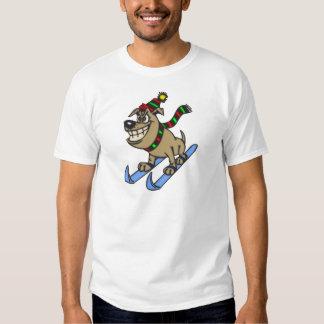 Cartoon Dog Snow Skiing Tee Shirt