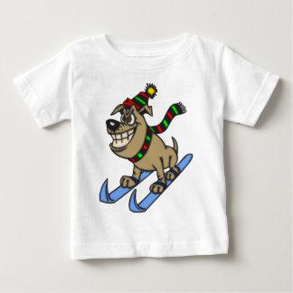 Cartoon Dog Snow Skiing T Shirt
