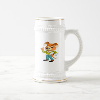 Cartoon dog student getting ready for school #2 beer stein