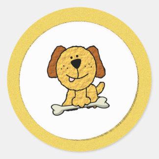 Cartoon Dog with a Bone on Yellow Classic Round Sticker