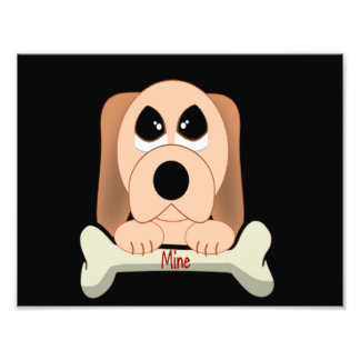 Cartoon Dog with A Bone That Says Mine Photo Print