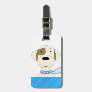 Cartoon Dog with Blue Collar Luggage Tags