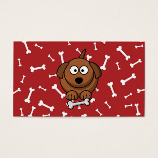 Cartoon Dog with Bones and Red Background Business Card