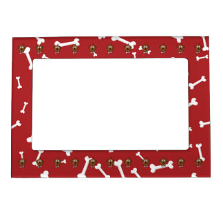 Cartoon Dog with Bones and Red Background Magnetic Photo Frames