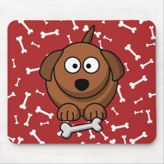 Cartoon Dog with Bones and Red Background Mouse Pad