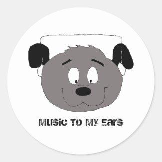 Cartoon Dog With Headphones Classic Round Sticker