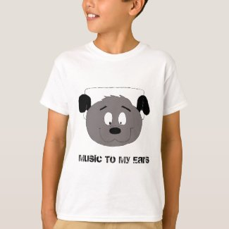 Cartoon Dog With Headphones T-Shirt