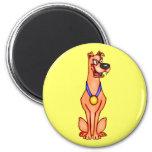 Cartoon Dog With Medal Refrigerator Magnet