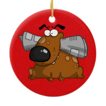 cartoon dog with newspaper in his mouth ceramic ornament