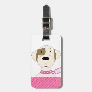 Cartoon Dog with Pink Collar Luggage Tag