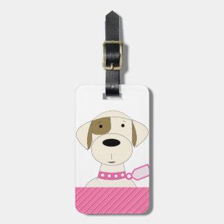 Cartoon Dog with Pink Collar Travel Bag Tags