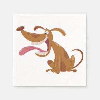 Cartoon Dog With Tongue Out Paper Napkins Standard Cocktail Napkin