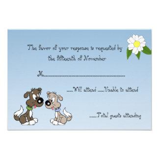 Cartoon Doggie Wedding Response Card Invitations
