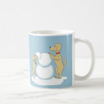 Cartoon Dogs Building Snowman Coffee Mug