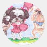 Cartoon Dogs Classic Round Sticker