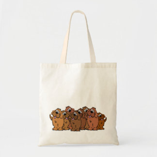 Cartoon dogs of all different brown colors. tote bag