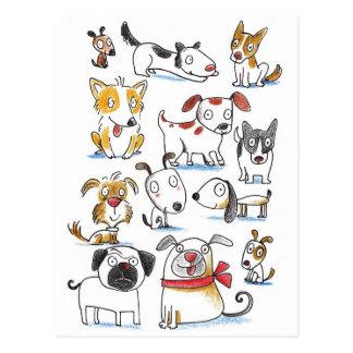 cartoon dogs postcard