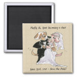 Cartoon Dogs Wedding Save the Date Magnets