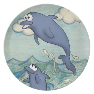 cartoon dolphin friends playing in the ocean water plate