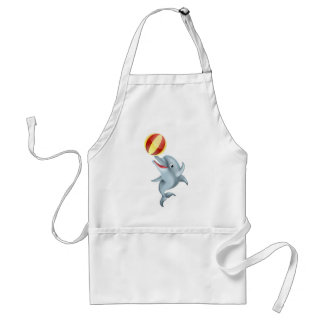 Cartoon Dolphin Playing with Ball Adult Apron