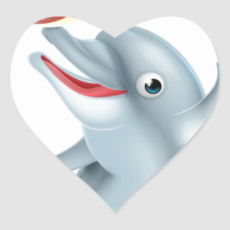 Cartoon Dolphin Playing with Ball Heart Sticker
