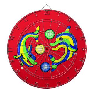 Cartoon Dolphins Dartboard With Darts