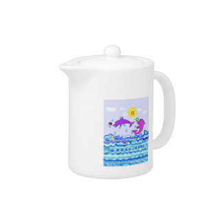 Cartoon Dolphins Teapot