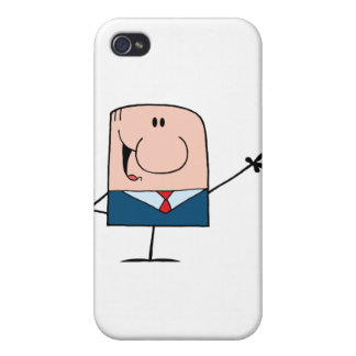 Cartoon Doodle Businessman Waving iPhone 4/4S Cover